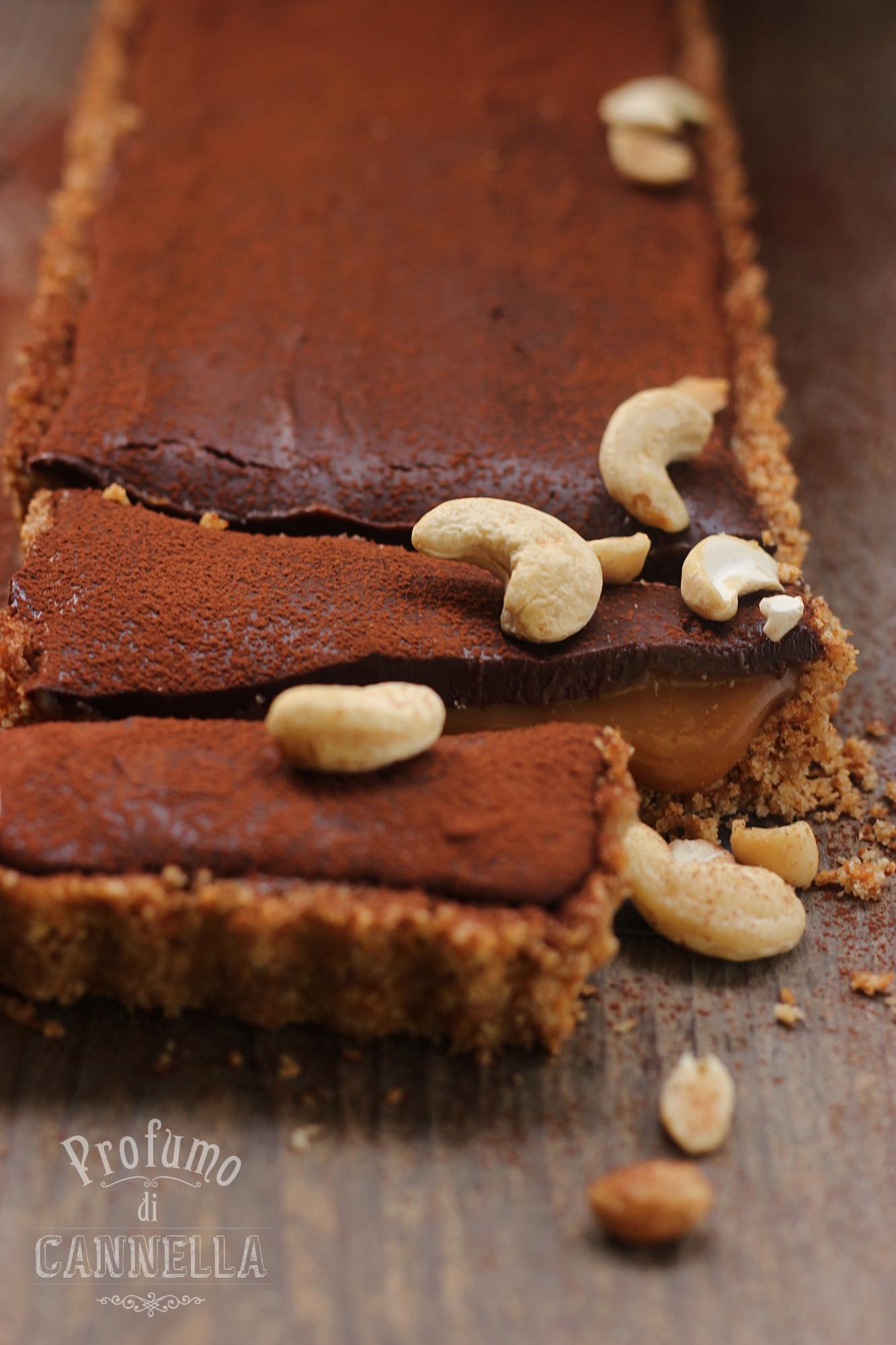 No baked tart al cioccolato e caramello salato