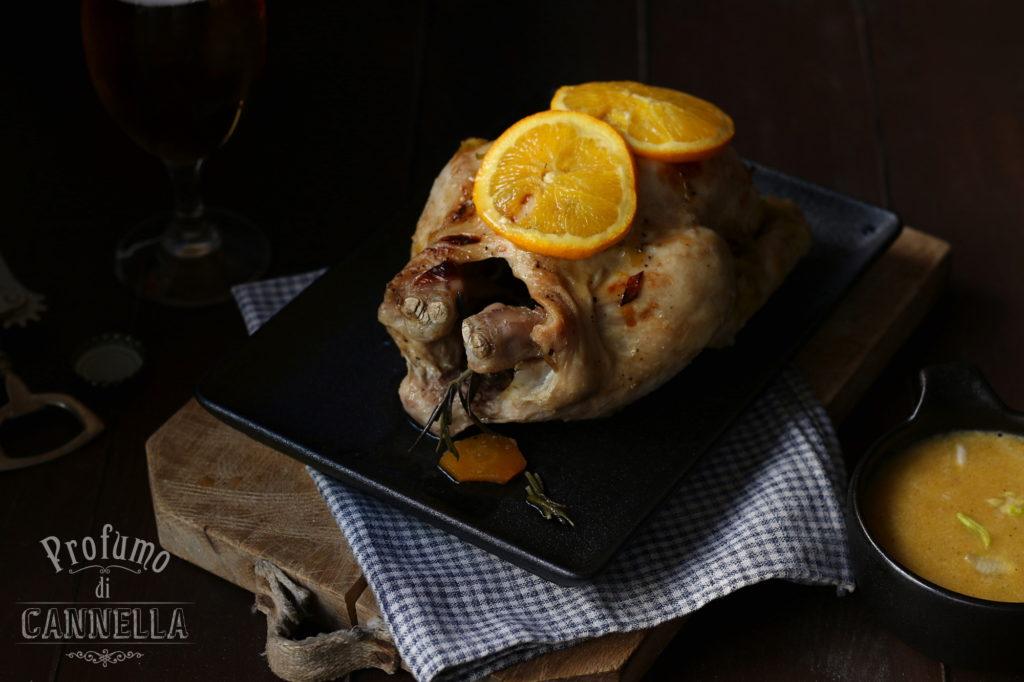 Pollo brasato al forno con salsa al rum