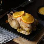 Pollo all'arancia brasato al forno con salsa al miele e rum