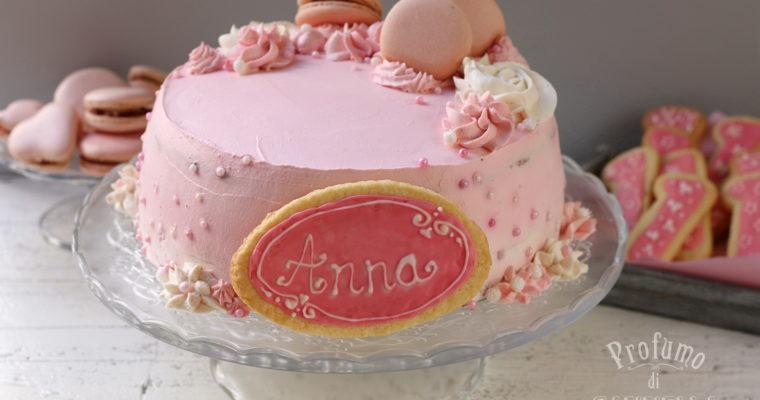 Torta primo compleanno – pan di Spagna con crema pasticcera e fragole