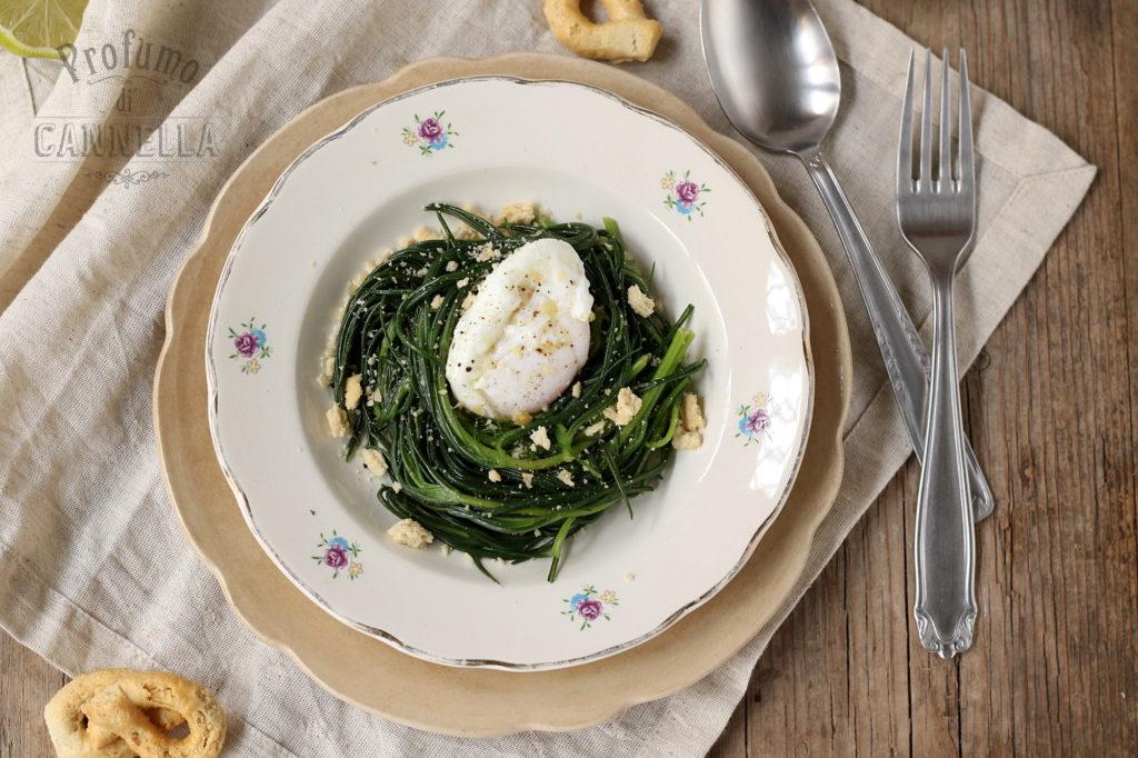 Ricetta dell'uovo poché con agretti