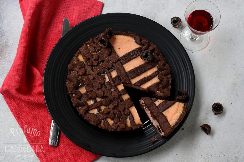 Profumo di Cannella - Crostata ricotta e amarene con pasta frolla al cacao
