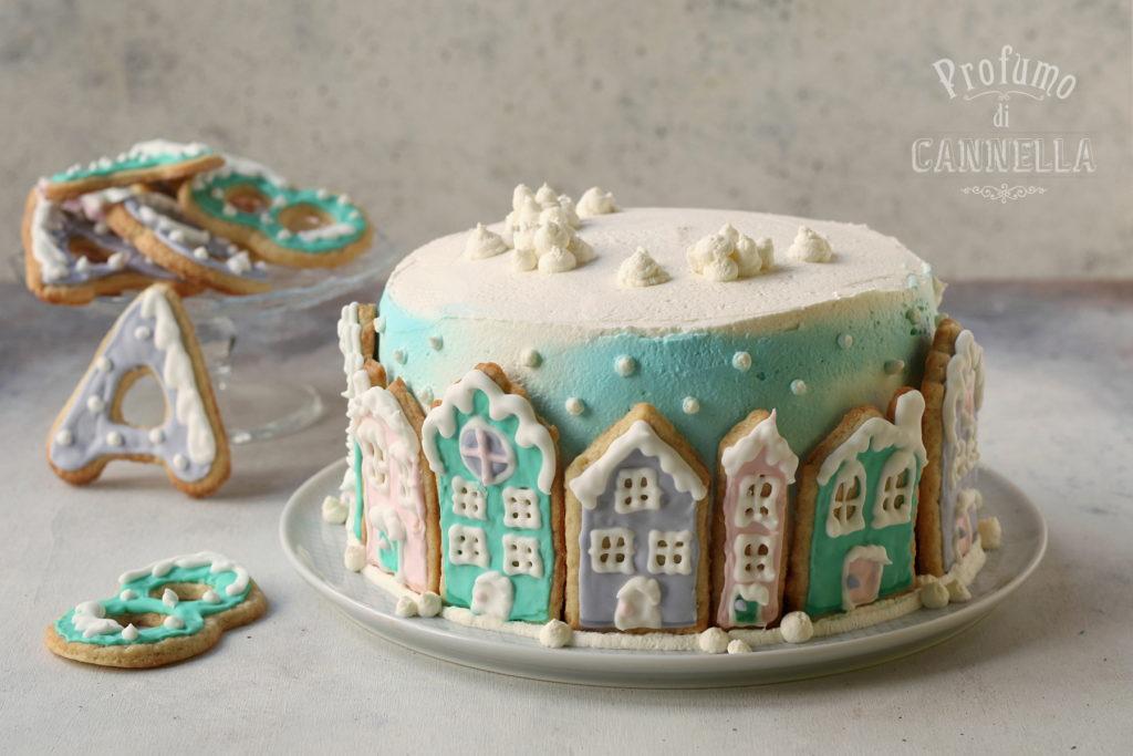 Torta con casette biscotto